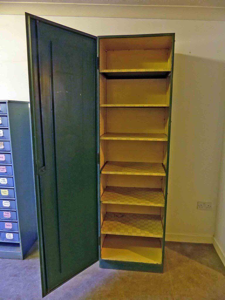 tall vintage industrial metal shelved cabinet cupboard. Black Bedroom Furniture Sets. Home Design Ideas