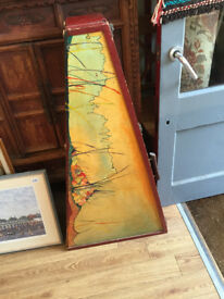 Vintage Wooden Guitar Case , hand painted . Size Height 42.5in Width 22in.