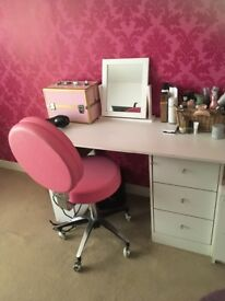 White desk with chair and mirror