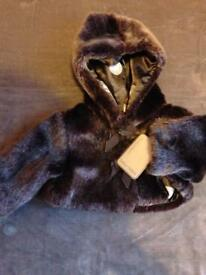 New Mamas and papas brown fur jacket newborn