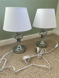 NEW Silver bedside lamps