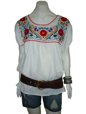 WHITE PEASANT PUEBLA HAND EMBROIDERED MEXICAN BLOUSE TOP XS, S, M, L, XL, - White Peasant Blouse
