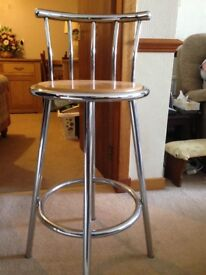 Breakfast Bar Stools Stainless with wooden seat. 2 chairs