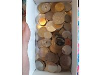 89 Coins from different countries ( some are doubles or triples, I've not made an inventory)