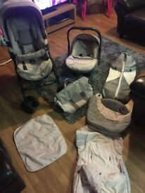 silver cross 3D vogue pink and grey travel system