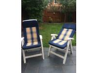 2x reclining chairs with padded covers