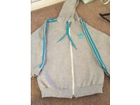 Blue and grey adidas hoodie 13-14 years