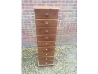 Solid pine tall slim chest of drawers