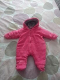 Boyes pink fleece baby girls pramsuit 0-3