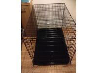 large dog cage front opening door. Comes with washable mat.