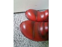 Red biker boots, size 7