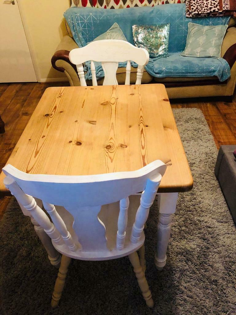 Astonishing Small Farmhouse Dining Table And Two Chairs In Kidlington Oxfordshire Gumtree Andrewgaddart Wooden Chair Designs For Living Room Andrewgaddartcom