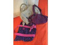 Kipling handbags,purple,beige,leopard print