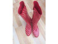 Red Polka Dot Vintage Ladies Wellies size 5 - as new