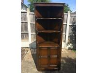 Vintage ERCOL Old Colonial Traditional Finish Corner Display Cabinet - 474