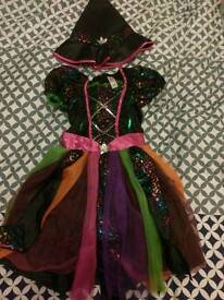 Girls Witch Dress and Hat Age 7 to 8
