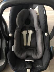 Maxi cosi car seat £60 and family isofix base £60
