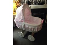 Baby Girls Carriage (Moses Basket)With Moving Wheels Badically Brand Only Used 4 Times £130 ono