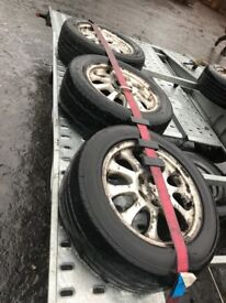 Peugot alloy wheels 4 alloys and one spare steel with good tyre 255/55 R16
