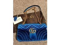 Gucci Marmont velvet petrol blue shoulder bag. Medium sized. Chevron velvet. RRP £1260