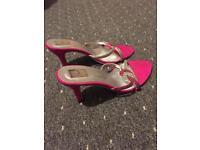 Ladies pink heel shoes