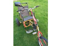 Custom 3 wheeled trike bicycle, 24 gears, will fit 5' to 6'2' rider. £80 ono