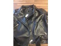 Ladies leather look biker jacket