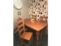 Solid wood kitchen table and chairs for sale