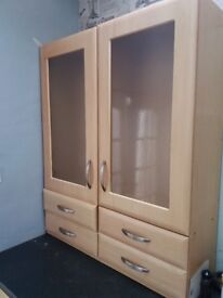 Excellent Wooden storage cabinet with glass doors