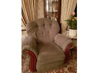 3 Piece Suite sofa, 2 armchairs green with small gold squares material very good condition