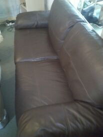 Real Leather ( Brown ) Sofa vgc Bargain £95