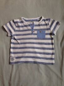 Mothercare: Blue and White Striped T.shirt (Baby Boy).