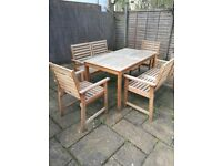 garden table with their chair and bench is very good condition
