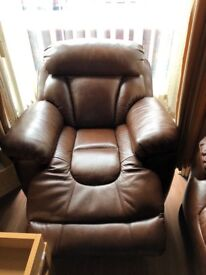 Brown leather electric recliner and armchairs