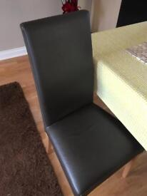 Set of 4 x leather dining chairs