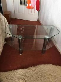 Glass coffee table/tv stand