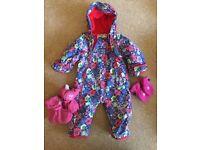 Jojo Maman Bebe Waterproof, fleece lined, all-in-one suit. 6-9 months size, floral