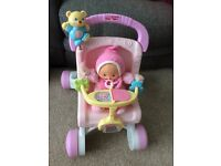 My first pram baby walker and doll