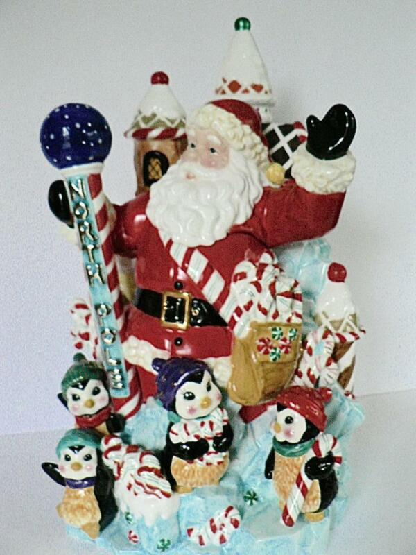 2001 CHRISTOPHER RADKO  SANTA PEPPERMINT PENGUIN NORTH POLE COOKIE JAR candy