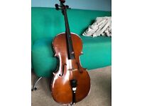 1/4 size cello stentor student II with bow and carry case