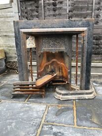 Victorian iron fire place (with tiles)