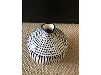 Blue/white irregular round vase