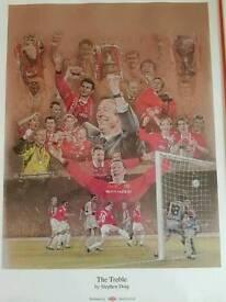 Framed manchester United treble winners