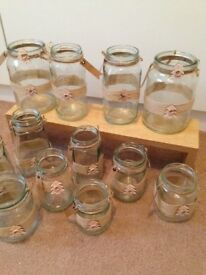 12 x wedding jars hessian table decorations