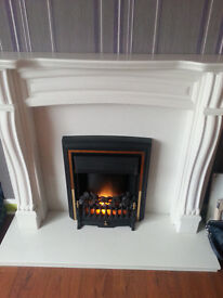Electric fireplace with surrounding, colour ivory/creamy