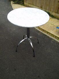 Marble table. Breakfast table.