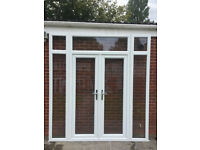 UPVC DOUBLE GLAZED FRENCH DOOR WITH SIDE PANELS 227cm WIDE 247cm HIGH Can deliver