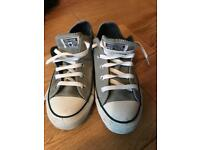 Ladies grey leather Converse size 4