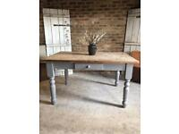 Rustic farmhouse pine kitchen dining table 6 seater