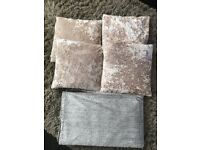 4 x crushed velvet cushions and inserts and a grey soft throw brentwood £15 no offers
